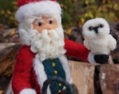 Needle Felted Polar Bear, Owl and Santa Claus - Needle Felted Wool Father Christmas And Animal Soft Sculpture