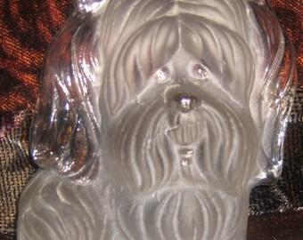 Vintage Hand Made Viking Satin Glass Dog: Yorkie, Shih-tzu