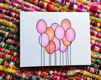 Birthday Balloons Card (blank)