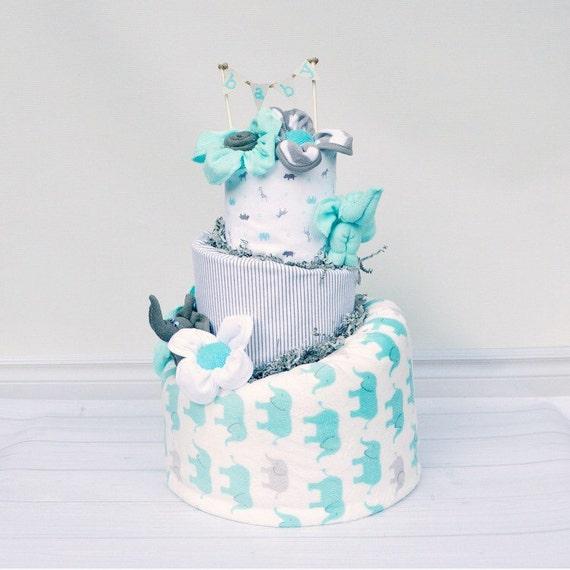 Gray Elephant Shower, Elephant Baby Shower Cake, Safari Baby Shower, Baby Boy Elephant Shower Centerpiece, Gray and Blue Diaper Cake