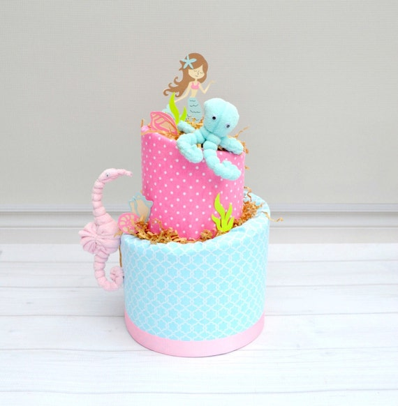 Mermaid Baby Shower, Little Mermaid Diaper Cake, Under the Sea Baby Shower, Mermaid Shower Decor, Mermaid Party Decorations, Pink and Aqua