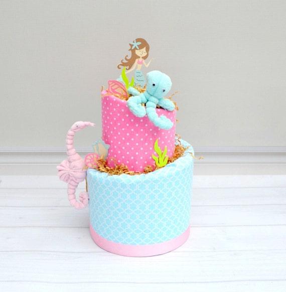 Mermaid Baby Shower Decor, Mermaid Diaper Cake, Mermaid Shower Gift, Girl Under the Sea Shower, Pink and Aqua Mermaid Cake Centerpiece