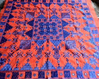 Vintage India Textile - Rustic Embroidered Mirrored Kantha Cloth in Red and Blue - 33 x 33