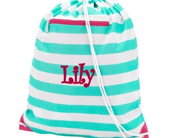 Girls Monogrammed Skylar Stripe Print Drawstring Backpack Gym Bag Personalized Cinch Sack