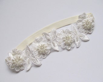 Beaded Alencon Ivory Lace Bridal Garter,Wedding Garter,Bridal Accessories,Style #G01
