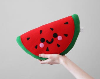 Red Happy Watermelon Plushie, Red Fruit, Cute Fruit Slice Cushion, Kids Room Decor