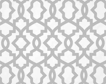 Pair (2 panels) high end designer grommet top curtain panels drapes, Sheffield,  French Grey, geometric, trellis