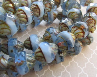 Opaque Sapphire Turbine Czech Glass Bead, 11 x 10 Turbine, Czech Glass Turbine Bead, Czech glass, Czech Beads, Czech Glass, SAPPPIC