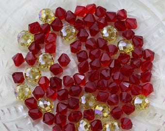Red and Gold Bead Mix, Bicones and Rondelles, 94 Glass Beads, Mixed Lot of Loose Beads, Bulk Lot, Destash Bead Mix, Crystal Beads #22