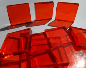 """100 Pieces 1/2"""" x 1/2"""" Orange Cathedral Stained Glass Mosaic Tiles Hand cut"""