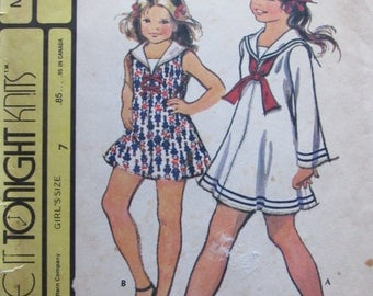 McCalls 3141/Uncut Vintage Sewing Pattern/Girls Dress/Sailor Dress/Size 7/1972/For Stretch Knit Fabric