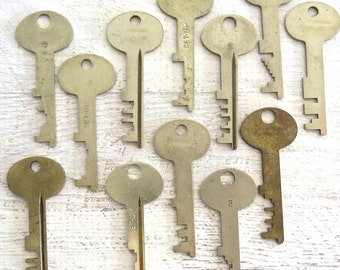 Key collection 12 keys Vintage stamping keys Antique keys DIY Stamping key Old keys for stamping Blank keys Blank side Stampable A1 BK #6A