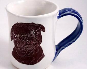 Large What Ya Doing Black Pug Mug in White and Blue