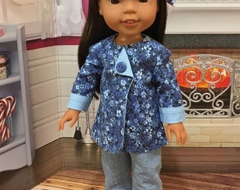 "Wellie Wishers ""Lady in Blue"" Jacket tunic and Jeans for WW dolls by American Girl 14 inch"