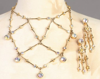 vintage CLEAR OPAL STONE gold plated bib statement necklace dangle earrings set 50s 1950s