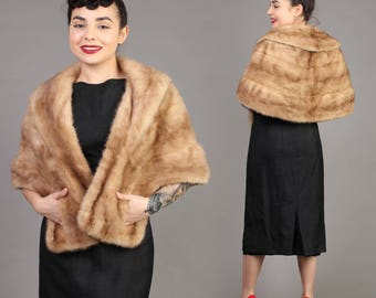 vintage MINK FUR wrap HONEY blonde stole cape shawl hollywood wedding rockabilly 60s 1960s 1950s 50s small extra small S