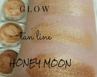 GLOW Rose Gold Highlighter and Mineral Make up EYE Shimmer - Eye Shadow, Gift for her, Mica Powder 5ml - skin tone Rose Gold Nude Shimmer