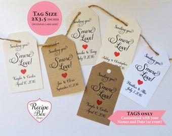 Smores, Smores wedding favor, Smores Tags, Smore love, Smores favors, Tags only, Smore Wedding favor tags, Select Amt 20-300 Fancy Font
