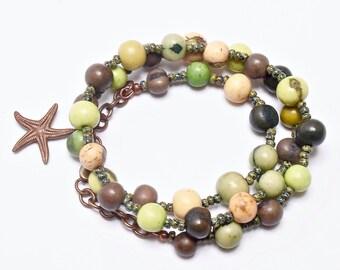 Acai Beaded Jewelry, Shades of Green, Casual, Beach Boho Necklace