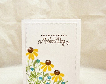 Wildflower Mother's Day Card, Happy Mother's Day Greeting Card,  Floral Mother's Day Card,  Hand Stamped Mother's Day Card, Wildflower Card