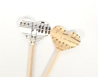 Music Heart Cupcake Toppers - Vintage Sheet Music Decor, Wedding Cupcake Topper