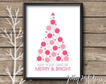 Pink Christmas Decor, pink Christmas tree, Christmas wall art, modern Christmas, rose quartz, foyer art, holiday quote, merry and bright