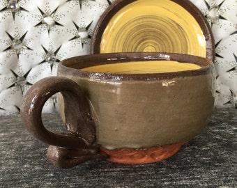 Ceramic Teacup and Saucer - Cappuccino Set in Olive and Autumn Yellow and Terra Red Stoneware