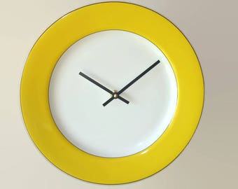 Sunny Yellow Wall Clock, 12 Inch Silent Porcelain Plate Clock, Yellow Kitchen Decor - 2348