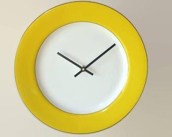 Sunny Yellow Wall Clock, 12 Inch Silent Porcelain Plate Clock, Yellow Kitchen Decor - 2348