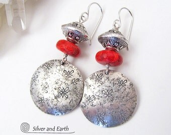 Red Coral Earrings, Sterling Silver Earrings, Handmade Silver Jewelry, Red Earrings, Silver & Red, Snowflake Earrings, Holiday Gift for Her