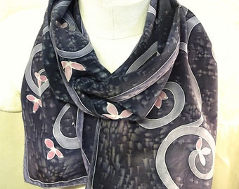 Lavender Purple Spiral Blossoms - Hand Painted Silk Scarf - wearable art - medium scarf 11x60 inches