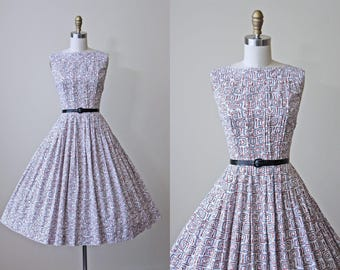 1950s Dress - Vintage 50s Dress - Brown Black White Atomic Print Cotton Full Skirt Sundress - Geometry Lessons Dress
