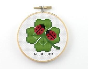 Good luck cross stitch pattern, four leaf clover cross stitch, ladybug cross stitch, good luck pdf pattern, modern cross stitch