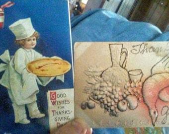 2 Vintage Thanksgiving Postcards