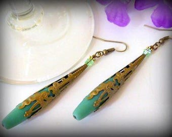 Green Frosted Sea Glass Dangle Earrings - Long Teardrop Antique Bronze Filigree Victorian Earrings