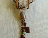 Relic Series - Mend My Heart - long dangle necklace with Sewing Theme