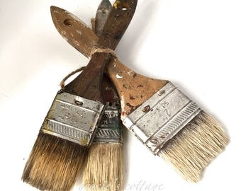 Paint Brushes 3 Vintage Shabby Studio Decor