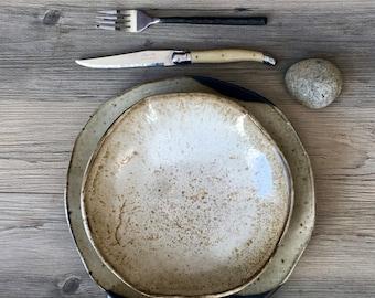 Ceramic Dinnerware Set, Handmade ceramics, Modern Dinnerware set, black and off-white, Ceramic plates, Ceramic Bowl, Ceramic Pottery