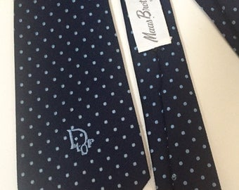 CLEARANCE SALE Vintage Christian Dior navy blue tiecwith light blue dots from old Maas Brothers department store in Tampa, Florida 3 3/8 by