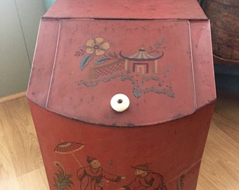 Extra Large Antique Country Store Counter Top Tea Bin Tole Painted Tin General Store: BEAUTIFUL!