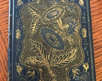 Hardcover Illustrated Book Blue Gold Small Book A Window in Thrums J.M.Barrie Altemus Philadelphia Shades of Blue