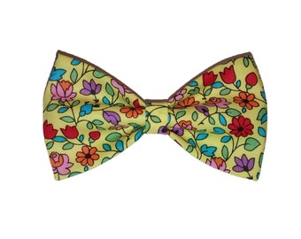 Yellow Flowers Bow Tie - Spring Dog Bow - Colorful Hair Clip - Cat Bowtie - Self Tie - Summer Floral