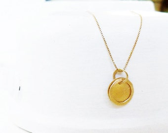14 Karat Gold Necklace / Two Round 14k Gold Pendants / 2 Charms Gold Necklace / Gold Charm / Simple Gold Hammered Necklace / Gold Jewelry