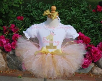 Girls first birthday outfit Pink and gold birthday outfit 1st 2nd 3rd 4th 5th birthday tutu baby girls second third fourth birthday dress