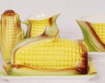 Vintage 1950s CORN COB Ceramic Service Set - Butter Dish - Sauce -  Shaker ++