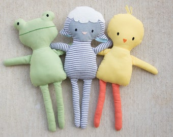 NEW Mini Pals SPRING collection rag doll animal sewing pattern toy bunny chick frog lamb softie stuffed doll