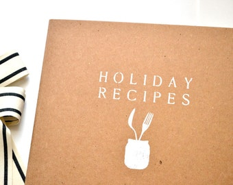 Holiday Recipe Binder - Hand-Stenciled Cover - Heavy-duty recycled cardboard - 3-ring binder for 8.5x11 recipes - Binder only - no inserts