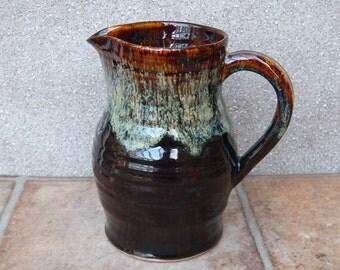 Jug or pitcher hand thrown in stoneware handmade ceramic wheelthrown pottery wine water milk
