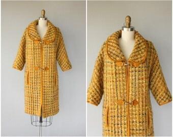 Vintage 1960s Wool Coat | Mustard Coat | Tweed Coat | 60s Coat | 1960s Coat