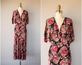 1990s does 1930s Dress | Vintage Floral Print Dress | 1990s Rayon Dress | Vintage Maxi Dress | 90s does 30s Dress (medium/large)